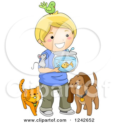 Clipart of a Happy Blond Boy with His Pets - Royalty Free Vector Illustration by BNP Design Studio
