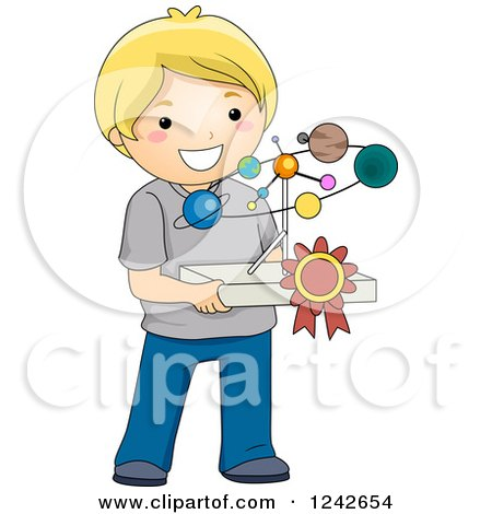 Clipart of a Blond Boy Holding a Solar System Science Project - Royalty Free Vector Illustration by BNP Design Studio