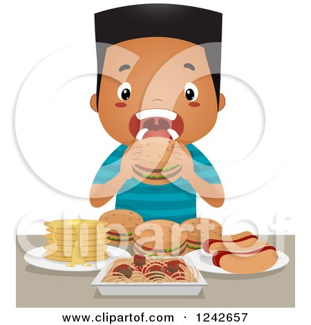 Clipart of a Black Boy Binge Eating Hot Dogs, Burgers, Spaghetti and Pancakes - Royalty Free Vector Illustration by BNP Design Studio