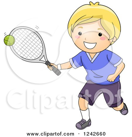 Clipart of a Happy Blond Boy Hitting a Tennis Ball - Royalty Free Vector Illustration by BNP Design Studio