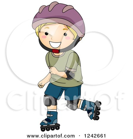 Clipart of a Happy Blond Boy Roller Blading in Protective Gear - Royalty Free Vector Illustration by BNP Design Studio