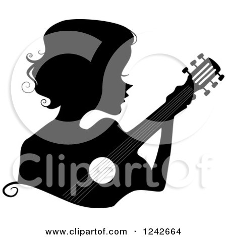 Clipart of a Black Silhouetted Woman Playing a Guitar - Royalty Free Vector Illustration by BNP Design Studio