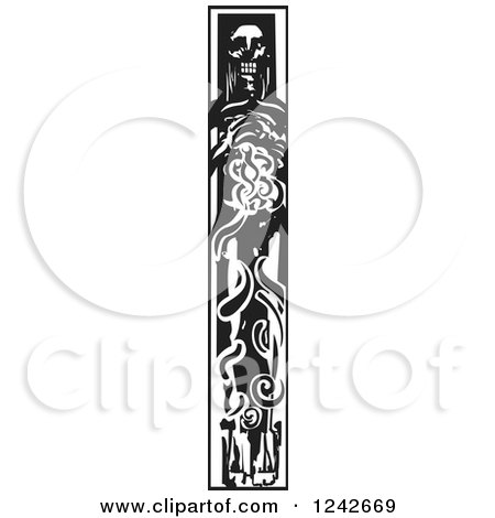 Clipart of a Black and White Woodcut Dead Viking - Royalty Free Vector Illustration by xunantunich