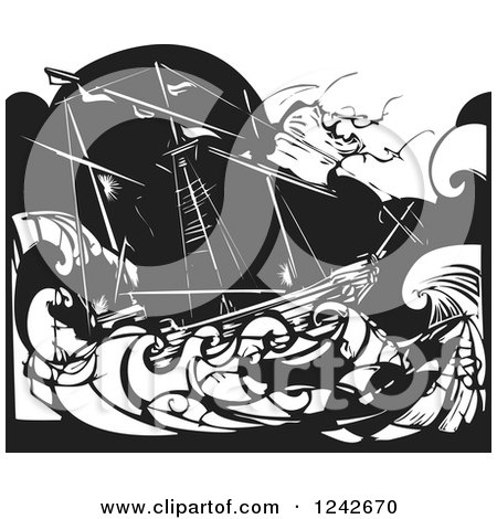 Clipart of a Black and White Wooduct Ship Stuck in a Storm at Sea - Royalty Free Vector Illustration by xunantunich