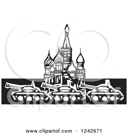 Clipart of a Black and White Woodcut Russian Military Tanks at Kremlin in Red Square - Royalty Free Vector Illustration by xunantunich