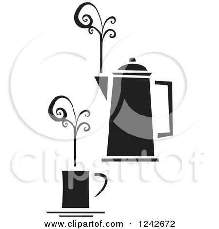 Clipart of a Black and White Cup of Coffee with Swirling Steam and a Pot - Royalty Free Vector Illustration by xunantunich