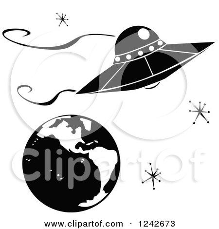 Clipart Of A Ufo Flying Saucer Over Earth With Retro Stars Royalty Free Vector Illustration