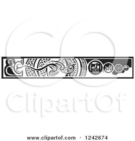 Clipart of a Black and White Woodcut Serpent and Viking Border - Royalty Free Vector Illustration by xunantunich