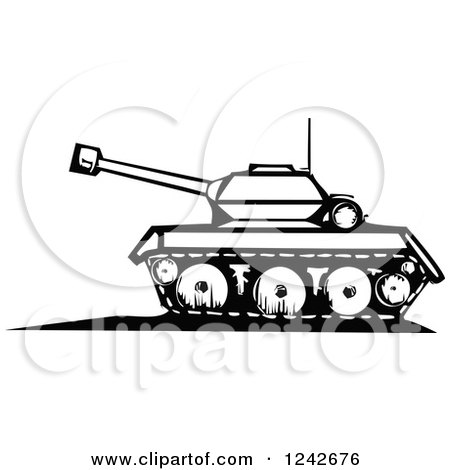 Clipart of a Black and White Woodcut Military Tank - Royalty Free Vector Illustration by xunantunich