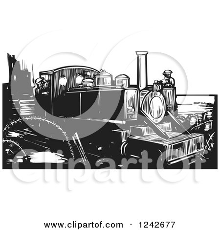 Clipart of a Black and White Woodcut WWI Train and Engineers - Royalty Free Vector Illustration by xunantunich