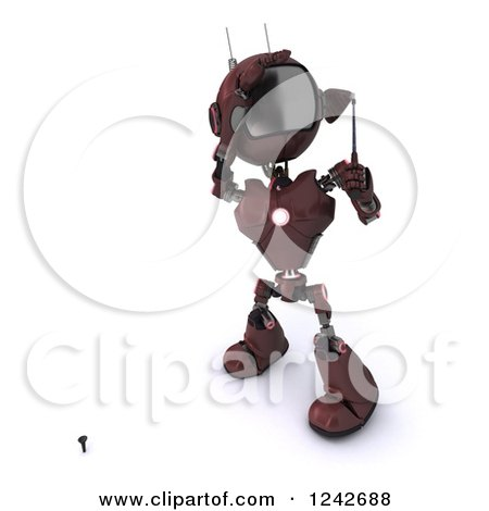 Clipart of a 3d Red Android Robot Golfing 6 - Royalty Free Illustration by KJ Pargeter