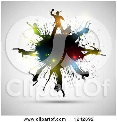 Clipart of Silhouetted Dancers with Colorful Flares on a Black Grunge Splatter, over Gray - Royalty Free Vector Illustration by KJ Pargeter