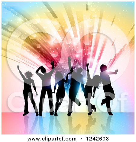 Clipart of Black Silhouetted Dancers over a Burst of Colorful Lights and Flares - Royalty Free Vector Illustration by KJ Pargeter