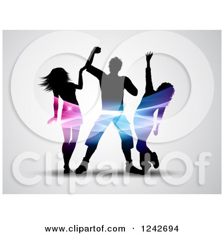 Clipart of Silhouetted Dancers with Colorful Lights Through Their Torsos, on Gray - Royalty Free Vector Illustration by KJ Pargeter