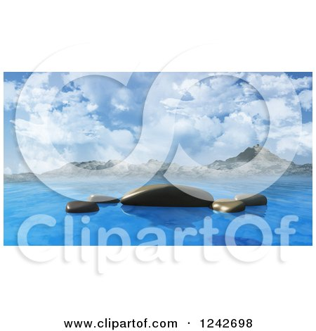 Clipart of 3d Smooth Ocean Rocks Against Mountains and Sky - Royalty Free Illustration by KJ Pargeter