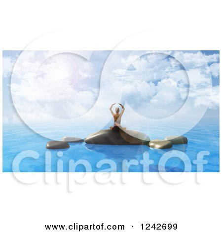 Clipart of a 3d Woman Doing Yoga on Rocks in the Ocean - Royalty Free Illustration by KJ Pargeter