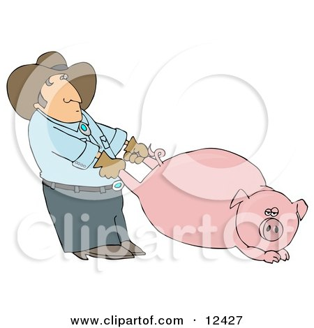 Farmer Man Pulling a Fat Pink Pig by the Hind Legs Clipart Picture by djart