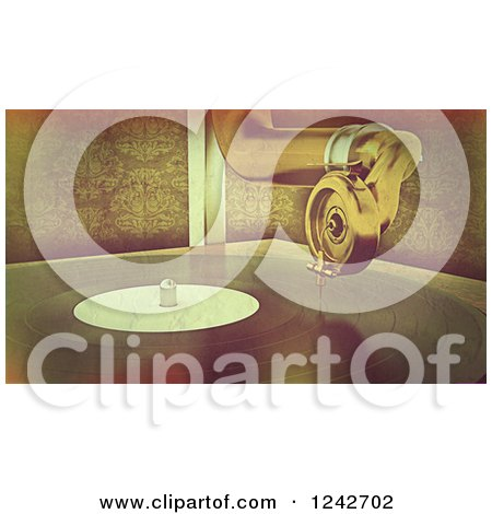 Clipart of a Distressed Vintage Background of a Gramophone Player - Royalty Free Illustration by KJ Pargeter