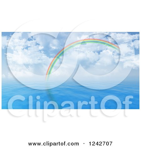 Clipart of a 3d Rainbow Arching over Blue Water and a Cloudy Sky - Royalty Free Illustration by KJ Pargeter