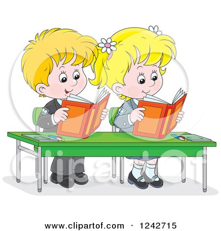 Clipart of Blond School Children Reading at Their Desk - Royalty Free Vector Illustration by Alex Bannykh