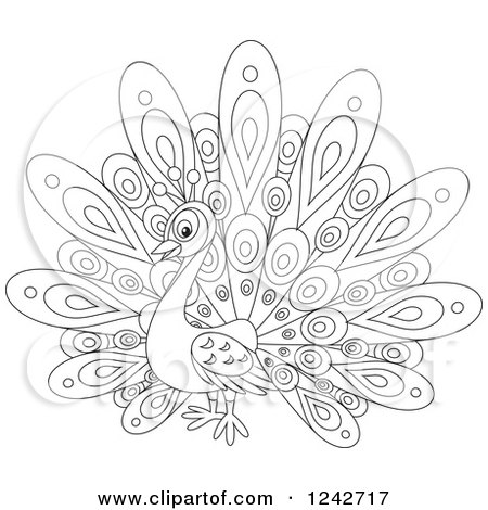 Clipart of a Black and White Cute Peacock Bird with Fancy Plumage - Royalty Free Vector Illustration by Alex Bannykh