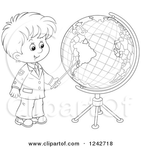 clipart of a black and white school boy pointing to a globe royalty free vector illustration by alex bannykh 1242718 clipart of a black and white school boy