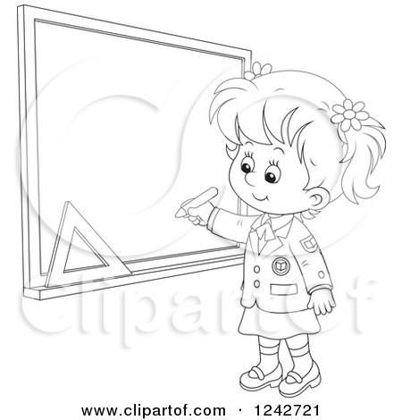 Clipart of a Black and White School Girl Writing on a Grid Chalkboard - Royalty Free Vector Illustration by Alex Bannykh