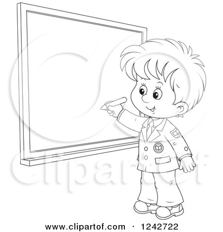 Clipart of a Black and White School Boy Writing on a Grid Chalkboard - Royalty Free Vector Illustration by Alex Bannykh