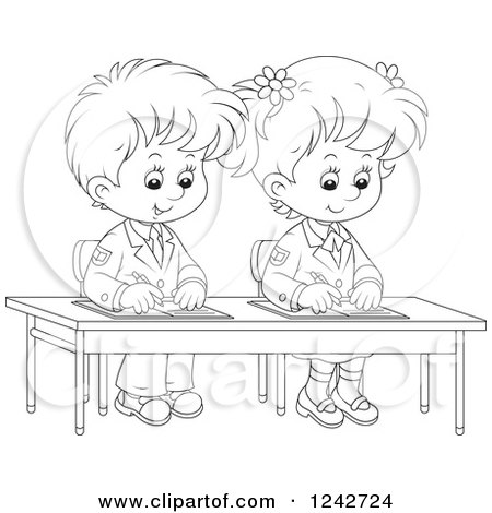 Clipart Of Black And White School Children Writing At Their Desk