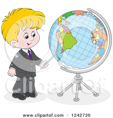Clipart of a Blond School Boy Pointing to a Globe - Royalty Free Vector Illustration by Alex Bannykh
