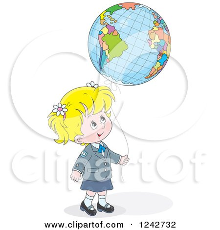 Clipart of a Blond School Girl with a Globe Balloon - Royalty Free Vector Illustration by Alex Bannykh