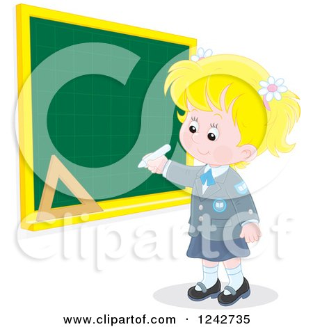 Clipart of a Blond Caucasian School Girl Writing on a Grid Chalkboard - Royalty Free Vector Illustration by Alex Bannykh