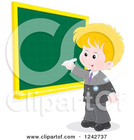 Clipart of a Blond Caucasian School Boy Writing on a Grid Chalkboard - Royalty Free Vector Illustration by Alex Bannykh