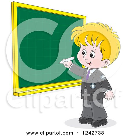 Clipart of a Blond School Boy Writing on a Grid Chalkboard - Royalty Free Vector Illustration by Alex Bannykh