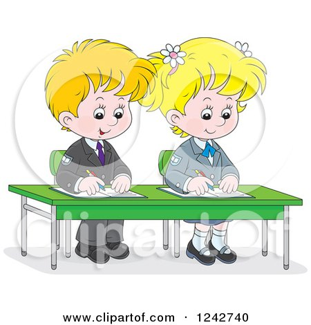 Clipart of Blond School Children Writing at Their Desk - Royalty Free Vector Illustration by Alex Bannykh