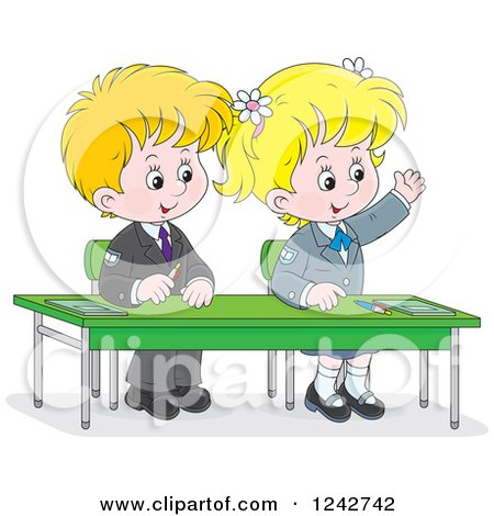 Clipart of Blond School Children at Their Desk - Royalty Free Vector Illustration by Alex Bannykh