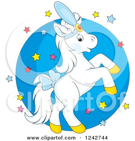 Clipart of a White Show Horse Rearing over Stars and a Circle - Royalty Free Vector Illustration by Alex Bannykh