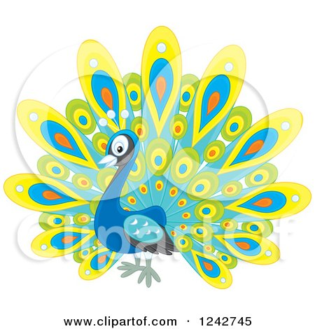 Clipart of a Cute Happy Peacock Bird with Colorful Plumage - Royalty Free Vector Illustration by Alex Bannykh