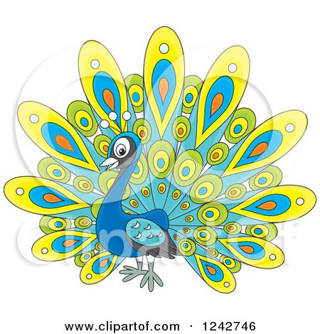 Clipart of a Cute Peacock Bird with Colorful Plumage - Royalty Free Vector Illustration by Alex Bannykh