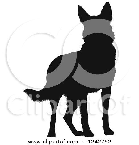 Clipart of a Black Silhouetted German Shepherd Dog Standing - Royalty Free Vector Illustration by Maria Bell