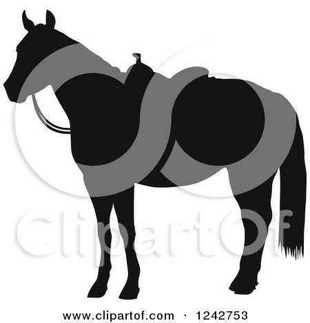 Clipart of a Black Silhouetted Hourse in a Western Saddle - Royalty Free Vector Illustration by Maria Bell