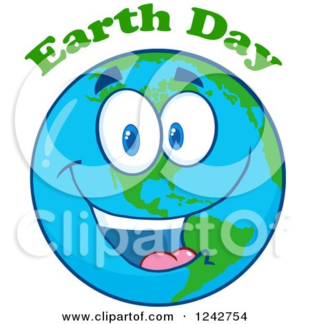 Happy Smiling Earth Day Globe Character with Text Posters, Art Prints