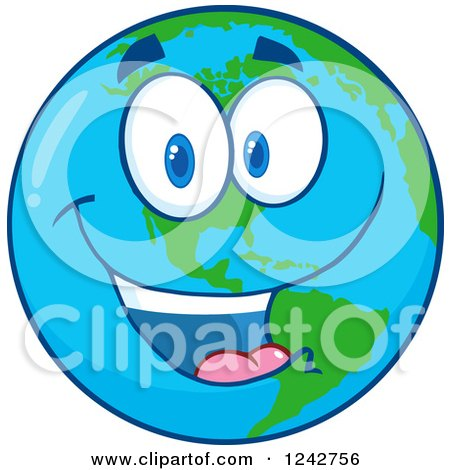 Clipart of a Happy Smiling Earth Globe Character - Royalty Free Vector Illustration by Hit Toon
