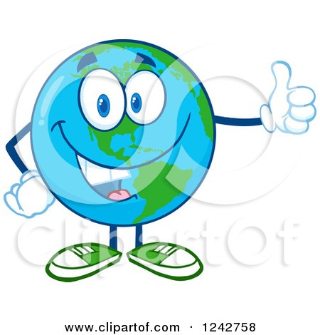Clipart of a Happy Smiling Earth Globe Character Giving a Thumb up - Royalty Free Vector Illustration by Hit Toon