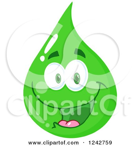 Clipart of a Happy Smiling Green Eco Water Drop Character - Royalty Free Vector Illustration by Hit Toon