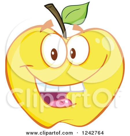 Clipart of a Happy Yellow Apple Character - Royalty Free Vector Illustration by Hit Toon
