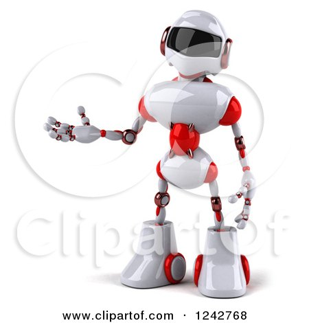 Clipart of a 3d White and Red Robot Presenting - Royalty Free Illustration by Julos