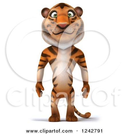 Clipart of a 3d Happy Tiger Character Standing - Royalty Free Illustration by Julos