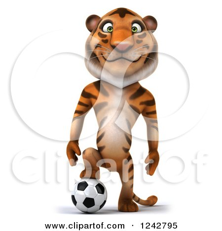 Clipart of a 3d Happy Tiger Character Resting a Foot on a Soccer Ball - Royalty Free Illustration by Julos