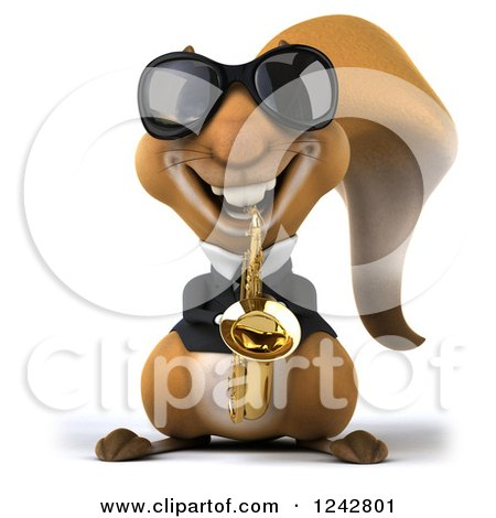 Clipart of a 3d Musician Squirrel Wearing Shades and Playing a Saxophone - Royalty Free Illustration by Julos